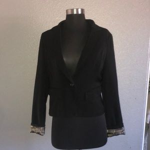Black blazer with Creme and black stripes inside